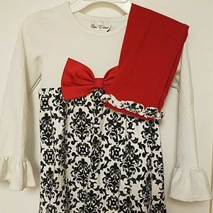 RARE EDITION Black&Cream Damask top w/ Red legging